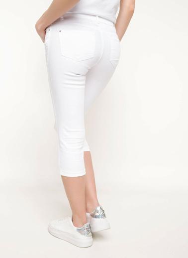 DeFacto Kısa Paça Slim Fit Pantolon Beyaz